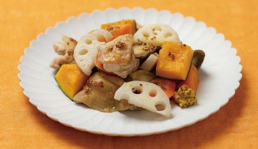鶏モモ肉とレンコンのグリルマスタードソース